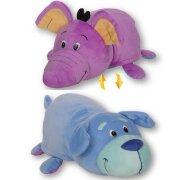 Плюшевая вывернушка 2в1 Голубой щенок-Фиолетовый слон, 40 см