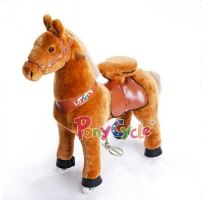 3141 поницикл лошадка СВЕТЛО-КОРИЧНЕВАЯ малая Понимобиль светло-коричневая лошадка малая.  Поницикл при нажатии на ушко некоторое время издаёт реалистичные звуки: ржание и цокот копыт!  Рекомендованный возраст: 2+ (до 25 кг)