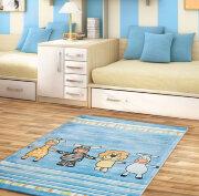 Ковёр в детскую ЧЕТЫРЕ ДРУГА (синий)