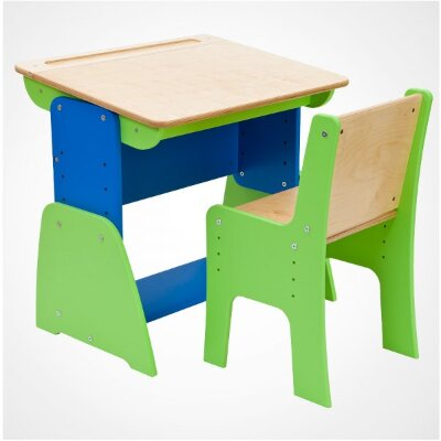 Комплект Парта и стул регулируемые по высоте и наклону Продажа комплектом!  Мебель для детей парта и стул серии «Парта №1»Мебель покрыта итальянским полиуретановым мебельным лаком и предлагается в нескольких цветах:- Зеленая с синей вставкой Крышка парты – береза под прозрачным лаком- Из массива бука под прозрачным лаком