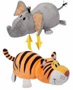 Плюшевая игрушка-вывернушка Тигр-Слон, 35 см